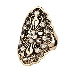 Small Black Clear Round Rhinestone Silver/Gold Plated Lady Girl Jewelry Rings