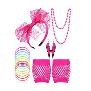 New 80s Accessories Fishnet Gloves Earrings Headband Hen Party Fancy Dress Set