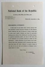 Antique Letterhead National Bank of the Republic Regarding Interest Chicago 1894