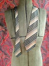 """New listing Vintage 1940s necktie tie brown tan tangerine stripe 48"""" long"""