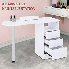 Manicure Nail Table Station Desk Spa Salon Beauty Equipment with 3 Drawers White