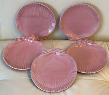 Vintage Bordallo Pinheiro Portugal 5 Pink Scallop Seashell Bread Dessert Plates