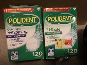 Polident Overnight Whitening & 3 Minute Antibacterial Denture Cleanser 120 Ea