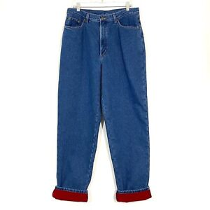 LL Bean Fleece Lined Jeans Womens Size 16T Double L High Waisted Relaxed Fit