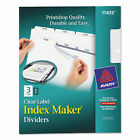 Avery Print & Apply Clear Label Dividers w/White Tabs 3-Tab Letter 5 Sets 11435