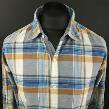Tommy Hilfiger Mens THICK Shirt XL Long Sleeve Blue Vintage Fit Check Cotton