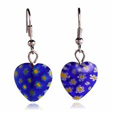 Purple Glass Flower Mosaic Heart Dangle Earrings