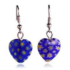 Blue Glass Flower Mosaic Heart Dangle Earrings