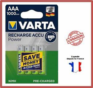 Piles Rechargeables AAA HR03 1000 mAh NiMH 1,2V Varta Accus Batteries par 4