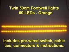 Twin 50cm Orange LED interior footwell light waterproof & flexible exterior neon