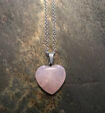Womens .925 Sterling Silver Rose Quartz Stone Heart Pendant Necklace, BRAND NEW