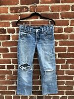 MARC JACOBS Womens Distressed Knee Rips Crop Light Wash Designer Jeans Size 4