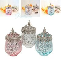 Vintage Laced Mercury Blossom Glass Lantern Wedding Christmas Gift in 3 Colours