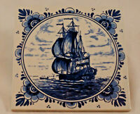 "Vintage Delft Blue Hand Painted 6"" Tile -Sailing Ship- Made in Holland"