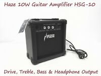 Haze 10W Guitar Amplifier w/Drive,Treble,Bass & Headphone Output. HSG-10 BK