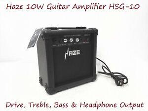 Haze 10W Guitar Amplifier w/Drive,Treble,Bass & Headphone Output. HSG-10 BK