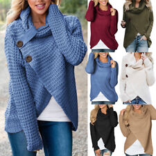 Womens Long Sleeve Button Cowl Neck Ladies Tops Knitted Sweater Jumper Cardigans