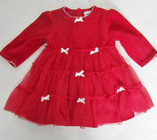 Red Velour and Mesh Dress with White Bows by Little Me Size 6 months
