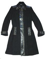 MASNADA Cappotto donna coat nero lana bouclé inserti pelle borchie oro 42 S/M