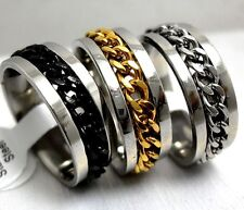 50 X Spin Chains Stainless steel Ring Men's Jewelry Wedding Band lots wholesale