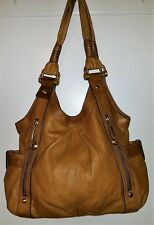 B. MAKOWSKY AWESOME LARGE 2-TONE-TAN SOFT LEATHER SHOULDER BAG /TOTE RTL $278.00