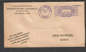 1935 window envelope meter cover Northwestern Bell Telephone Des Moines in city