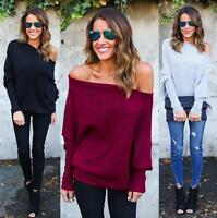 Women Long Sleeve Off Sholder Casual Slim Tops Knit Sweater Winter Shirt Blouse