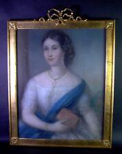 Damenportrait um 1800/1820 - Pastell - dekorativer Rahmen  66x54