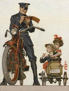 Joseph Christian Leyendecker Traffic Stop Poster Giclee Canvas Print
