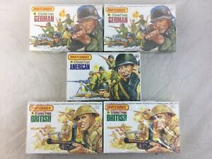 Lot 5 Vintage Matchbox 1:32 Scale Combat Troops American German British Toy Sold