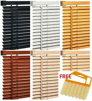 Pvc Wood Effect Venetian Window Blinds Home Office Easy Fit + FREE BLIND CLEANER