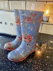 Next Girls blue pink floral Kidston Wellies Boots size 9 infant