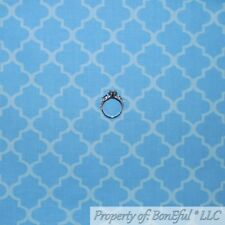 BonEful FABRIC FQ Cotton Quilt VTG Light Blue Print Damask Stripe Baby Boy Small