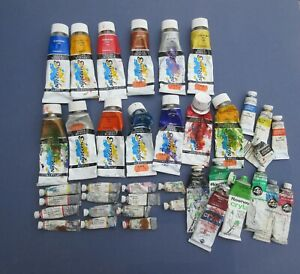 39 vintage? old used tubes of acrylic artists paint Daler Rowney Winsor Newton
