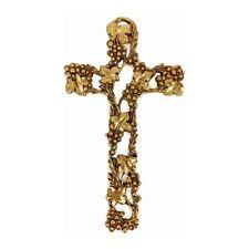 Croce Uva e Tralci in Metallo Dorato 12 cm
