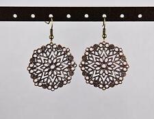 "Copper filigree lace cut out medallion dangle drop earrings french hook 2"" long"