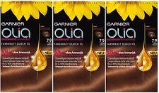 3 x Garnier Olia 7.9 Light Bronze - Permanent Hair Colourant Dye