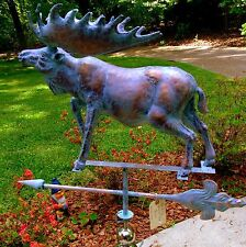 X-LARGE Handcrafted 3 Dimensional MOOSE Weathervane Copper Patina finish
