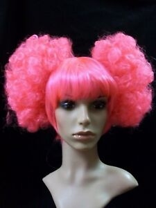 Fun Hot Pink Harlequin Curly Puff Costume Wig Circus Clown Anime Afro Pouf Clips