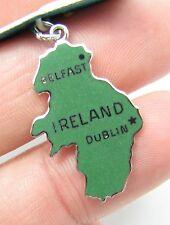 """Vintage Sterling Silver Enamel Belfast Dublin Ireland Irish 1"""" Bracelet Charm"""