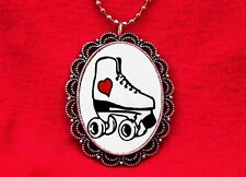 ROLLER SKATE DERBY HEART TATTOO WHEEL PENDANT NECKLACE