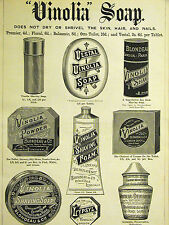 Vinolia SOAPS Powder Antiseptic Shaving Cream Lip Balm 1891 Print Ad Matted