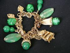Antique Green Glass Bead Gold Tone Luck Charm Bracelet Vintage
