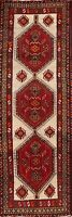 Vintage Geometric Meshkin Ivory Oriental 10 ft Runner Rug Wool Hand-Knotted 3x10