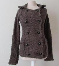 FREE PEOPLE womens Sm brown chunky knit wool blend button sweater
