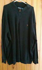 ralph lauren mens 4XB black 1/4 brown leather zip pull brown logo cotton sweater