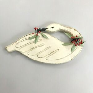 "VINTAGE Christmas Swan w/Holly Wall Decor 17.5""W Carved Wood Farmhouse Holiday"