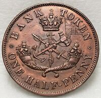 PC-5D Halfpenny 1857 Token Province of Upper Canada Bank Breton 720, Free Ship!