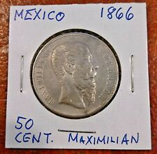 MEXICO EMPIRE  OF MAXIMILIAN 1866-Mo SILVER 50 CENTAVOS ~ VERY FINE-EXTRA FINE