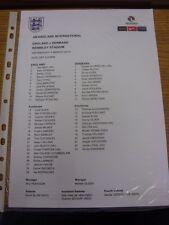 05/03/2014 Colour Teamsheet: England v Denmark [At Wembley] (minor folding/creas